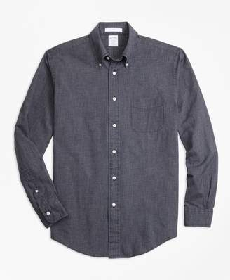 Brooks Brothers Regent Fit Indigo Chambray Micro-Check Sport Shirt