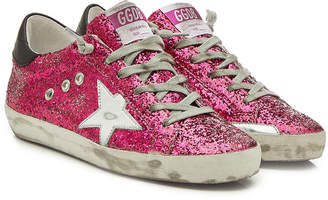 Golden Goose Super Star Glitter Sneakers with Leather