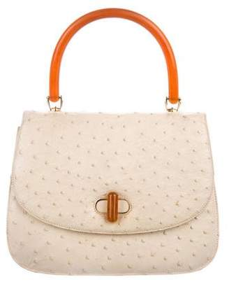 Gucci Vintage Top Handle Ostrich Bag