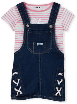 DKNY Toddler Girls) Two-Piece Striped Tee & Overalls Set