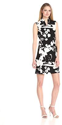 Joan Vass Women's Printed Stretch Pique Cotton Dress