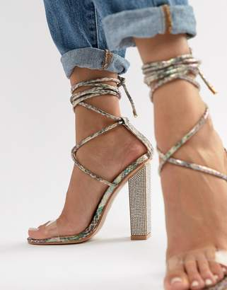 clear SIMMI Shoes Simmi London Karla multi snake detail embellished heel tie up sandals