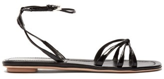 Prada Knot Front Patent Leather Sandals - Womens - Black
