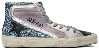Golden Goose Purple and Blue Glitter Slide High-Top Sneakers
