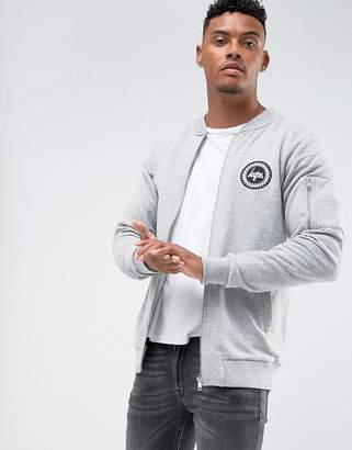 Hype Jersey Bomber Jacket In Gray