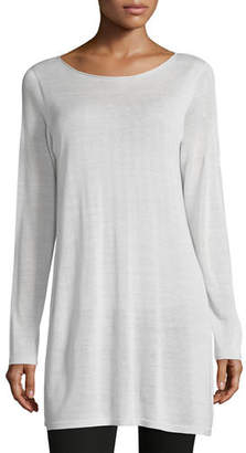 Eileen Fisher Long-Sleeve Seamless Knit Ballet-Neck Tunic $238 thestylecure.com