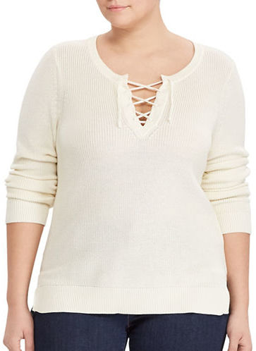 Lauren Ralph LaurenLauren Ralph Lauren Plus Cotton-Blend Lace-Up Pullover