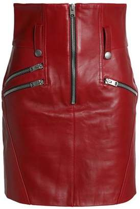 Coach Zip-Detailed Leather Mini Skirt