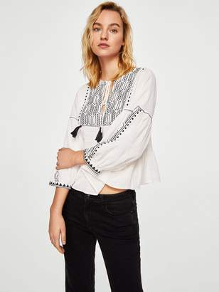 MANGO Embroidered Tassel Blouse - Off White