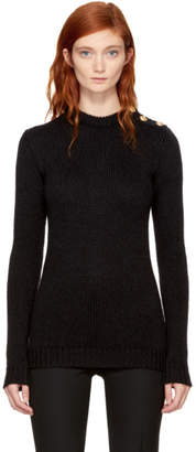 Balmain Black Three-Button Crewneck Sweater