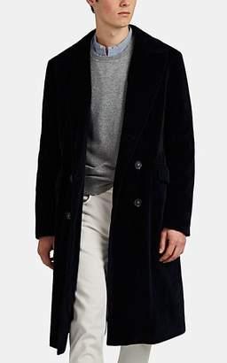 Massimo Alba Men's Cotton Velvet Double-Breasted Overcoat - Navy