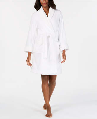 Charter Club Plus Size Printed Short Wrap Robe