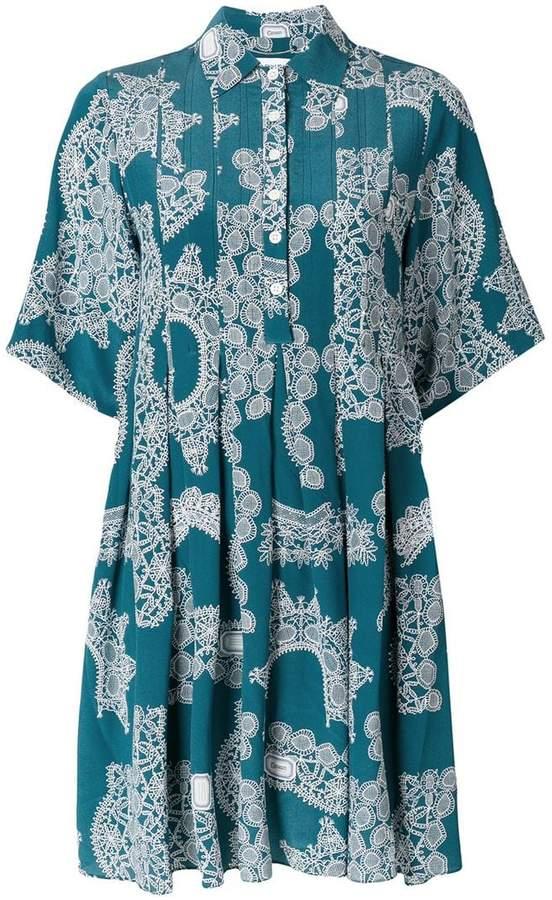 lace pattern pleated dress