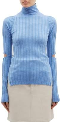 Helmut Lang Cutout sleeve wool rib knit turtleneck sweater