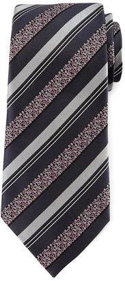 Ermenegildo Zegna Satin Floral Striped Tie, Gray $195 thestylecure.com