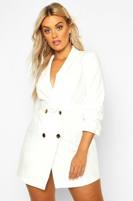 boohoo Plus Double Breast Gold Button Blazer Dress
