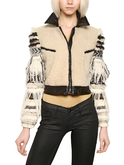 James Long Embroidered Sleeve Nappa Leather Jacket