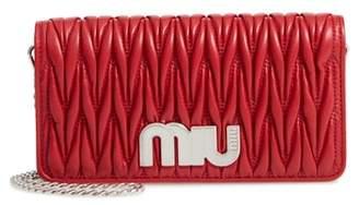 Miu Miu Matelasse Leather Wallet on a Chain
