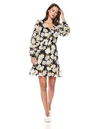 The Kooples Women's Women's V-Neck Long Sleeve Dress with a Hydrangea Print