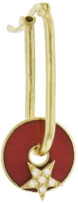 Foundrae Diamond Strength Red Star Champlevé Enamel Earring Disk