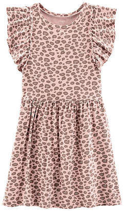 Carter's Pink Cheetah Print Dress - Preschool Girls Short Sleeve A-Line Dress - Preschool Girls