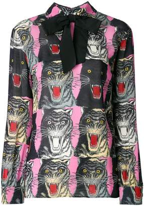 Gucci Tiger Face print sablé shirt