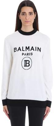 Balmain White And Black Wool Knit Sweater