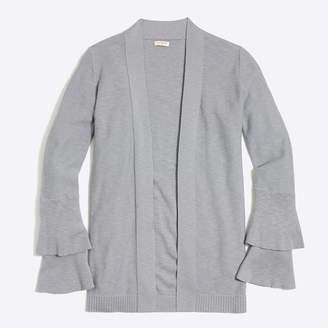 J.Crew Factory Tiered ruffle-sleeve cardigan sweater