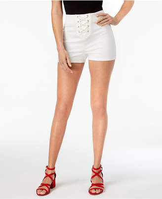 Material Girl High-Rise Lace-Up Shorts, Created for Macy's