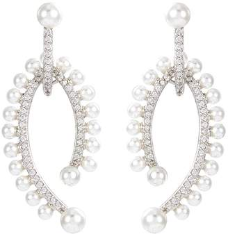 Kenneth Jay Lane CZ by Cubic zirconia glass pearl drop earrings