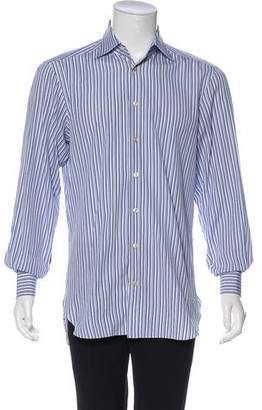Kiton Pinstriped Button-Up Shirt