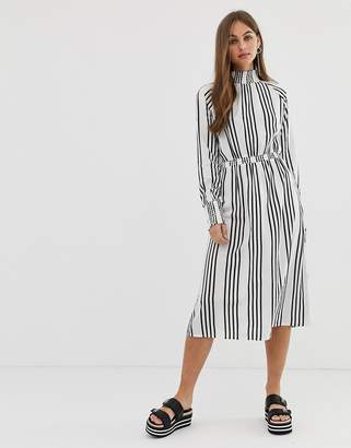 Noisy May high neck stripe midi dress