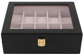 TRY 10 Grids Wood Watch Display Case Jewelry Storage Holder Box Organizer Gift