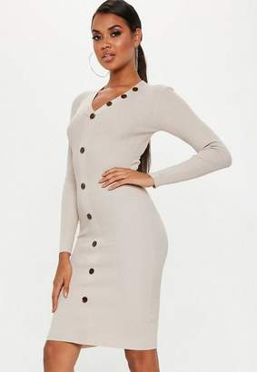 Missguided Plunge Button Long Sleeve Knitted Midi Dress