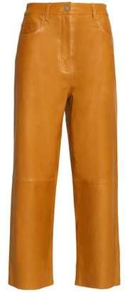 Tibi Anesia Cropped Leather Wide-Leg Pants