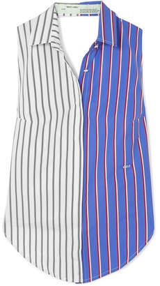 Off-White OffWhite - Cutout Striped Cotton-twill Top