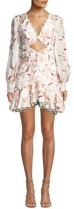 Zimmermann Corsage Floral-Print Cutout-Front Corsage Bauble Mini Dress