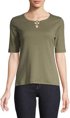 Karen Scott Petite Cut-Out Ring-Neck Cotton Top