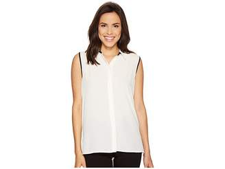 Vince Camuto Sleeveless Collared Button Down Blouse with Back Pleat Women's Blouse