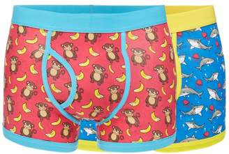 Red Herring Pack Of Two Monkey And Shark Print Keyhole Trunks
