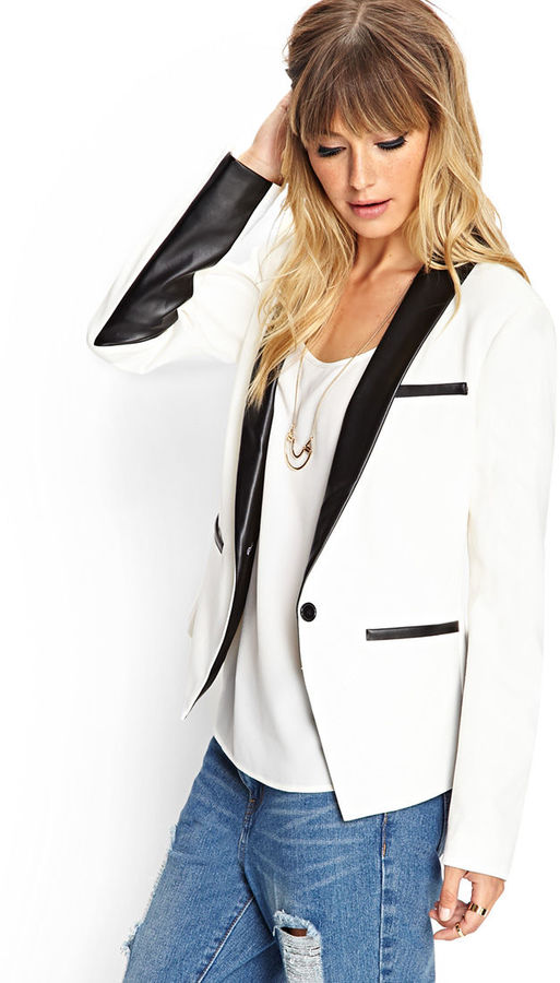 Forever 21 Faux Leather Woven Blazer