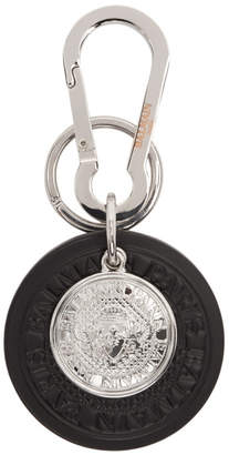 Balmain Black and Silver Kering Medal Keychain