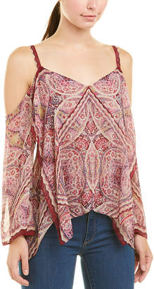 BCBGMAXAZRIA Draped Chiffon Top