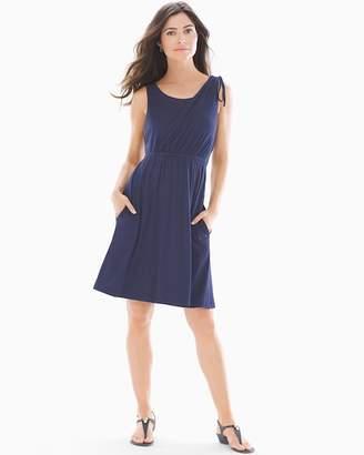 Soft Jersey Shoulder Detail Dress Navy