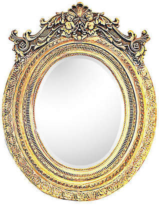 One Kings Lane Vintage Italian Washed-Gilt Oval Putti Mirror - House of Charm Antiques
