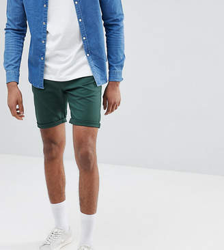 Asos DESIGN Tall Slim Chino Shorts In Bottle Green