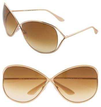 Women's Tom Ford Miranda 68Mm Open Temple Oversize Metal Sunglasses - Shiny Rose Gold