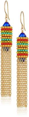 Miguel Ases Beaded Bicone Bordered Contrast Cap Fringe Chain Dangle Drop Earrings