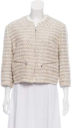 Theyskens' Theory Tweed Collarless Zip-Up Blazer