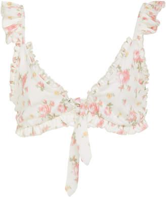 LoveShackFancy Claudia Ruffled Floral-Print Bikini Top Size: XS